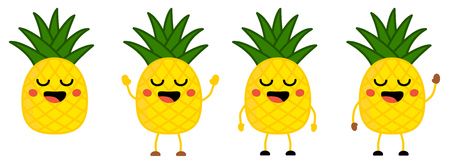Cute kawaii style Pineapple fruit icon, eyes closed, smiling with open mouth. Version with hands raised, down and waving  イラスト・ベクター素材