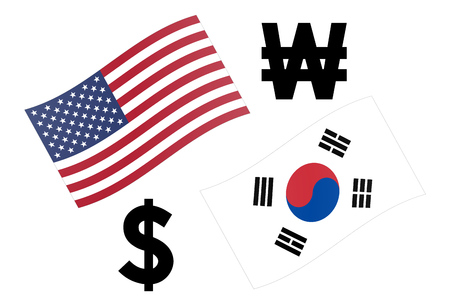 USDKRW forex currency pair vector illustration. American and Korean flag, with Dollar and Won symbol