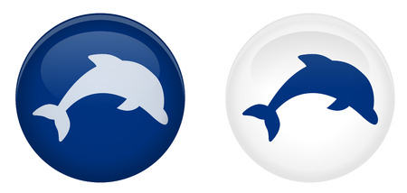 Simple dolphin button. Jumping fish symbol in circle. Blue and white version.