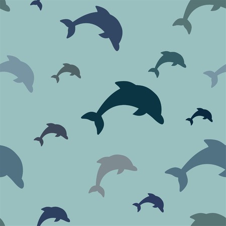 Seamless pattern - simple jumping dolphins in various shades of blue on aqua background.  イラスト・ベクター素材