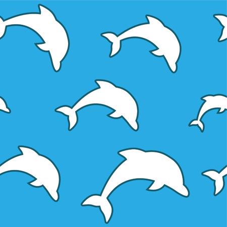 Seamless pattern - simple white jumping dolphins on aqua blue background.  イラスト・ベクター素材