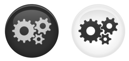 Simple settings 3d button. GearsCog wheel symbol in circle. Dark and light version.  イラスト・ベクター素材