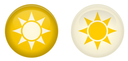 Simple sun button. Round with rays symbol in circle. Yellow and white version.
