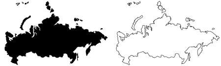 Simple (only sharp corners) map of Russia vector drawing. Filled and outlined version.