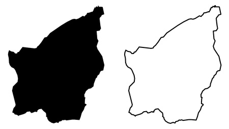 Simple (only sharp corners) map -Republic of San Marino vector drawing. Mercator projection. Filled and outline version.