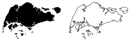 Simple (only sharp corners) map - Republic of Singapore vector drawing. Mercator projection. Filled and outline version.