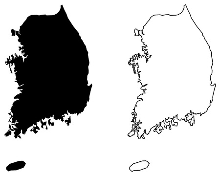 Simple (only sharp corners) map of South Korea vector drawing. Mercator projection. Filled and outline version.