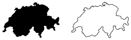 Simple (only sharp corners) map of Switzerland vector drawing. Mercator projection. Filled and outline version.