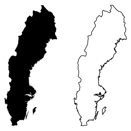 Simple (only sharp corners) map of Sweden vector drawing. Mercator projection. Filled and outline version.  イラスト・ベクター素材
