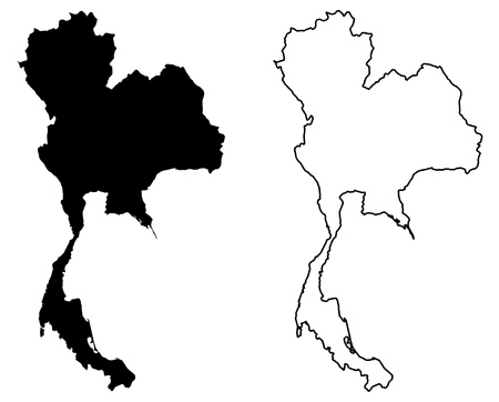 Simple (only sharp corners) map of Thailand vector drawing. Mercator projection. Filled and outline version. 向量圖像