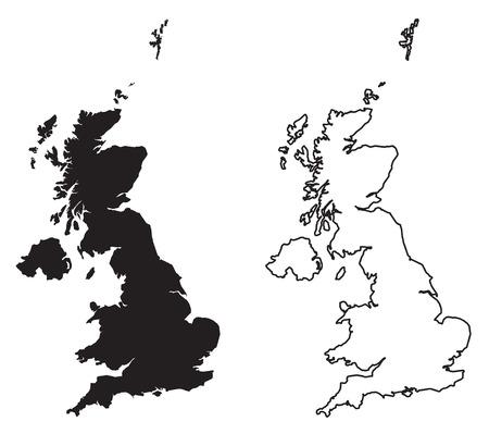 Einfache (nur scharfe Ecken) Karte der Vektorzeichnung des Vereinigten Königreichs Großbritannien und Nordirland. Mercator-Projektion. Gefüllte und umrissene Version. Vektorgrafik
