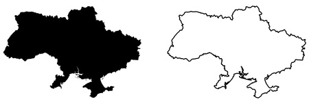 Simple (only sharp corners) map of Ukraine vector drawing. Mercator projection. Filled and outline version.  イラスト・ベクター素材