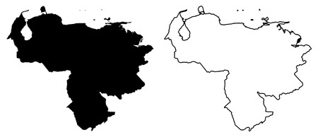 Simple (only sharp corners) map - Bolivarian Republic of Venezuela vector drawing. Mercator projection. Filled and outline version.  イラスト・ベクター素材