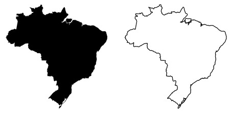 Simple (only sharp corners) map of Brazil vector drawing. Filled and outlined version.