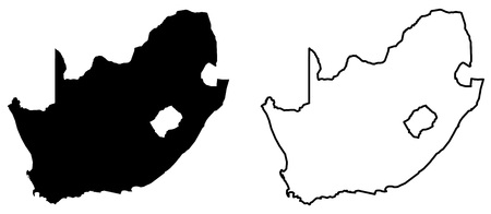 Simple (only sharp corners) map of South Africa vector drawing. Mercator projection. Filled and outline version.