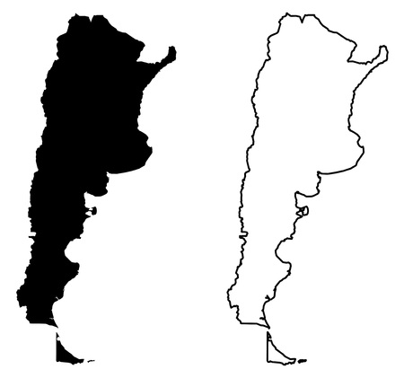Simple (only sharp corners) map of Argentina (Argentine republic) vector drawing. Mercator projection. Filled and outline version.  イラスト・ベクター素材