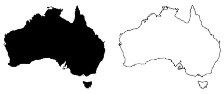 Simple (only sharp corners) map of Australia vector drawing. Mercator projection. Filled and outline version.  イラスト・ベクター素材
