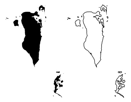 Simple (only sharp corners) map - Kingdom of Bahrain vector drawing. Mercator projection. Filled and outline version.  イラスト・ベクター素材