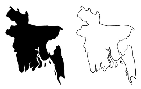 Simple (only sharp corners) map of Bangladesh vector drawing. Filled and outlined version.