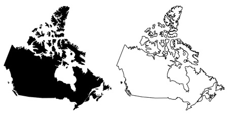 Simple (only sharp corners) map of Canada vector drawing. Lambert conformal conic projection. Filled and outline version.