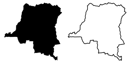 Simple (only sharp corners) map - Democratic Republic of the Congo vector drawing. Mercator projection. Filled and outline version.  イラスト・ベクター素材