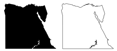 Simple (only sharp corners) map of Egypt vector drawing. Mercator projection. Filled and outline version.