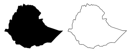 Simple (only sharp corners) map of Ethiopia vector drawing. Mercator projection. Filled and outline version.  イラスト・ベクター素材