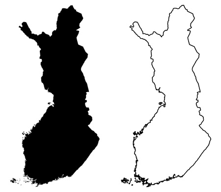 Simple (only sharp corners) map of Finland vector drawing. Mercator projection. Filled and outline version.