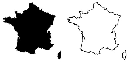 Simple (only sharp corners) map of France vector drawing. Mercator projection. Filled and outline version.