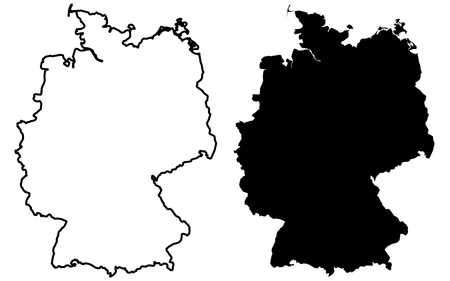 Simple (only sharp corners) map of Germany vector drawing. Mercator projection. Filled and outline version.  イラスト・ベクター素材