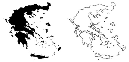 Simple (only sharp corners) map of Greece vector drawing. Mercator projection. Filled and outline version.
