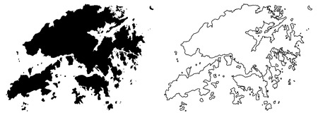 Simple (only sharp corners) map of Hongkong (Hong Kong Special Administrative Region of China) vector drawing. Mercator projection. Filled and outline version.