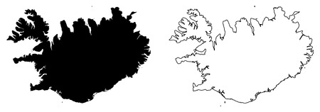 Simple (only sharp corners) map of Iceland vector drawing. Mercator projection. Filled and outline version.  イラスト・ベクター素材