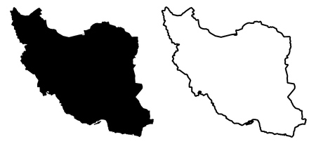 Simple (only sharp corners) map - Islamic Republic of Iran vector drawing. Mercator projection. Filled and outline version.