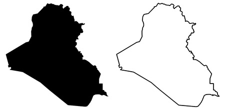 Simple (only sharp corners) map of Iraq vector drawing. Mercator projection. Filled and outline version.