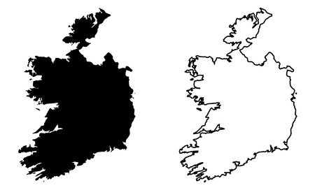 Simple (only sharp corners) map -  Republic of Ireland (without Northern British part) vector drawing. Mercator projection. Filled and outline version.