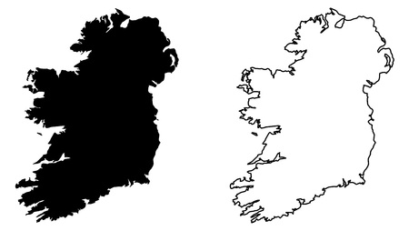 Simple (only sharp corners) map of Ireland (whole island, including northern British part) vector drawing. Mercator projection. Filled and outline version.