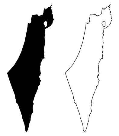 Simple (only sharp corners) map of Israel (including Palestine - Gaza strip and West bank) vector drawing. Mercator projection. Filled and outline version.