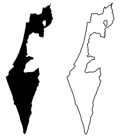 Simple (only sharp corners) map - State of Israel (without Palestine; excluding Gaza strip and West Bank) vector drawing. Mercator projection. Filled and outline version.  イラスト・ベクター素材