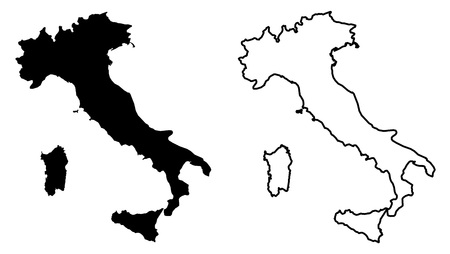 Simple (only sharp corners) map of Italian Republic vector drawing. Mercator projection. Filled and outline version.