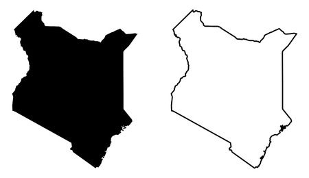 Simple (only sharp corners) map of Kenya vector drawing. Mercator projection. Filled and outline version.
