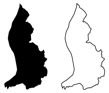 Simple (only sharp corners) map - Principality of Liechtenstein vector drawing. Mercator projection. Filled and outline version.