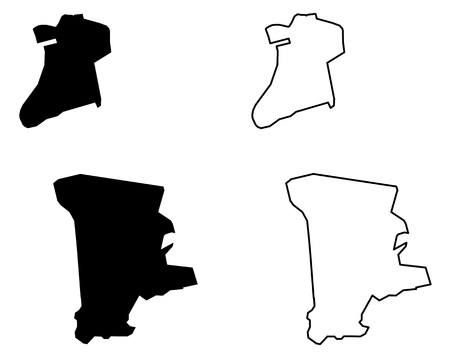Simple (only sharp corners) map of Macau (Macao Special Administrative Region of the Peoples Republic of China) vector drawing. Mercator projection. Filled and outline version.