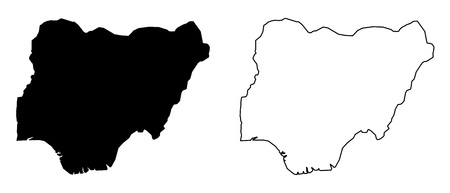 Simple (only sharp corners) map of Nigeria vector drawing.