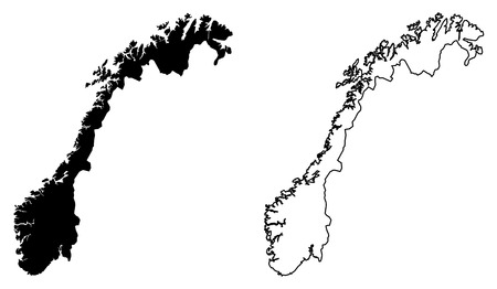 Simple (only sharp corners) map of Norway vector drawing. Mercator projection. Filled and outline version.  イラスト・ベクター素材