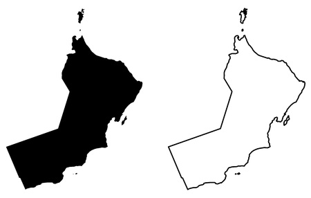 Simple (only sharp corners) map of Sultanate of Oman vector drawing. Mercator projection. Filled and outline version.