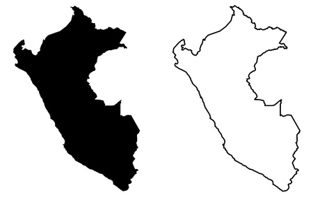 Simple (only sharp corners) map of Peru vector drawing. Mercator projection. Filled and outline version.  イラスト・ベクター素材