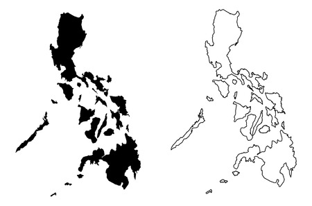 Simple (only sharp corners) map of Philippines vector drawing. Mercator projection. Filled and outline version.  イラスト・ベクター素材