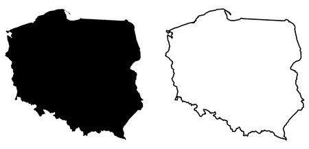 Simple (only sharp corners) map of Poland vector drawing. Mercator projection. Filled and outline version.