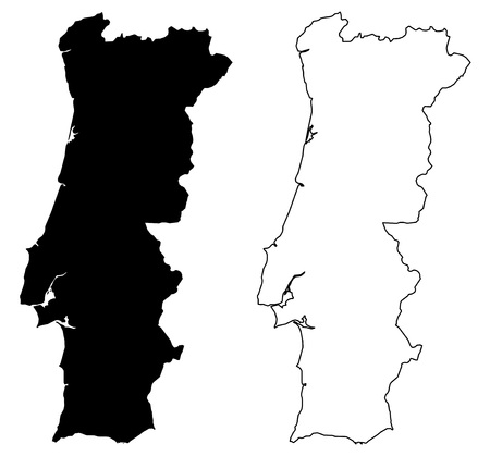 Simple (only sharp corners) map of Portugal vector drawing. Mercator projection. Filled and outline version.